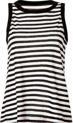 A.L.C. Black/White Striped Cotton Dominic Tank Top