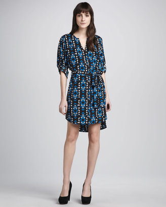 Neiman Marcus Cusp by Printed Self-Tie Shirtdress