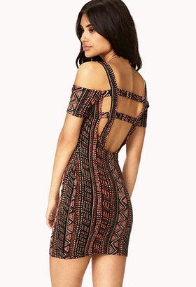 Forever 21 Tribal Print Cutout Dress