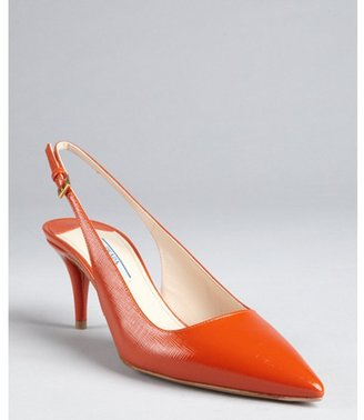 Prada clementine textured patent leather slingback pumps