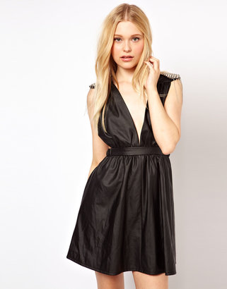 Jovonnista Leather Look Dress With Spike Shoulder
