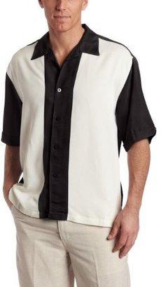 Cubavera Men's Short Sleeve Pieced Bedford Cord Camp Shirt