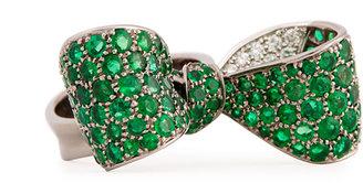 Mimi So Bow Large 18k Gold Emerald & Diamond Ring, Size 6