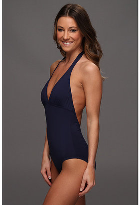 Tommy Bahama Pearl Solids Halter Cup V-Neck One-Piece w/ Low Back