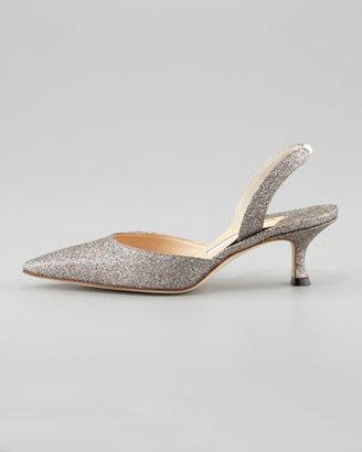 Manolo Blahnik Carolyne Glittered Low-Heel Halter Pump