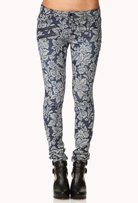 Forever 21 Jacquared Floral Skinny Jeans