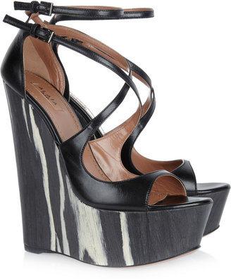 Alaia Leather and wood platform wedges