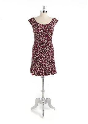 Betsey Johnson Cap-Sleeved Leopard Dress With Ruffle