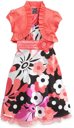 Sequin Hearts Girls' 2-Piece Shrug & Floral Dress Set