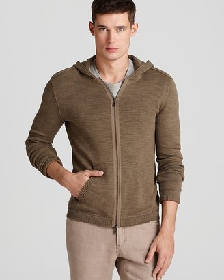 John Varvatos USA Zip Front Cotton Linen Hoodie