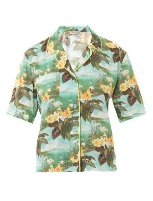 Emma Cook Hawaiian swan-print shirt