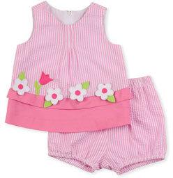 Florence Eiseman Windowbox Floral Seersucker Dress & Bloomers Set, Pink, 12-24 Months