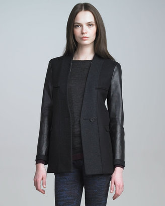 See by Chloe Two-Tone Jacket with Leather Sleeves