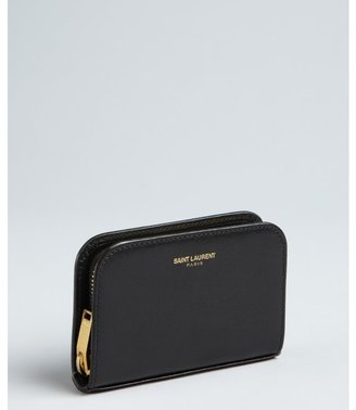 Saint Laurent black leather zip coin wallet