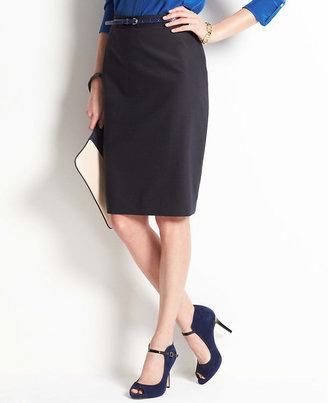 Ann Taylor Pinstripe Peplum Back Skirt