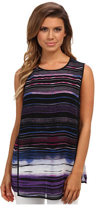 Vince Camuto S/L Sweeping Stripe Front Blouse