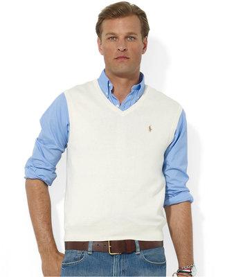 Polo Ralph Lauren Men's Sweater Vest, Core Solid Sweater Vest $79.50 thestylecure.com