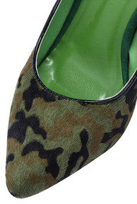 Romwe Green Camouflage Pumps