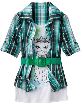 Knitworks plaid cat belted mock-layer top - girls 7-16