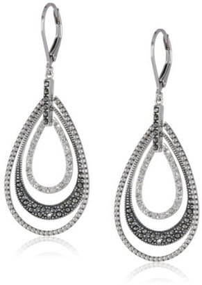 "Judith Jack ""Classics"" Sterling Silver, Marcasite, Crystal Teardrop Lever Back Earrings $170 thestylecure.com"
