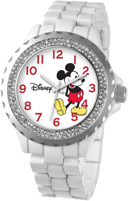Disney Womens Mickey Mouse White Enamel Sparkle Watch $59.99 thestylecure.com