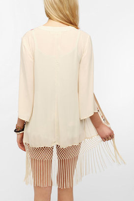 Urban Outfitters Staring At Stars Embroidered Silky Fringe Jacket