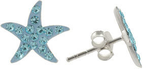 Pave Crystal & Sterling Silver Starfish Stud