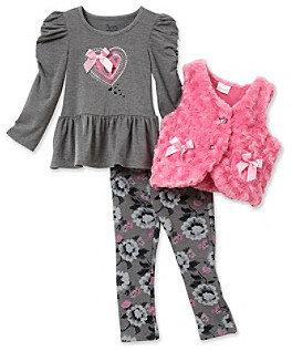 Nannette Girls' 2T-6X Pink/Grey 3-pc. Curly Fur Vest Set