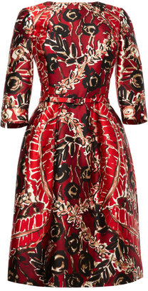 Oscar de la Renta Printed Silk-Blend Belted Dress