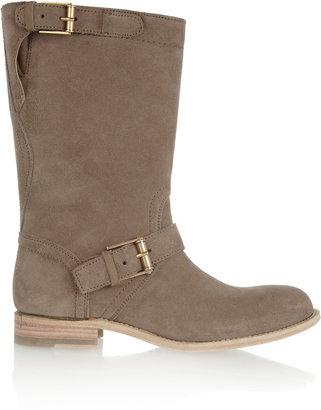 Jil Sander Buckled brushed-suede boots