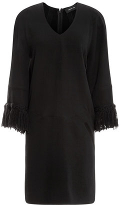 Derek Lam Crepe Cady Shift Dress with Fringed Sleeve
