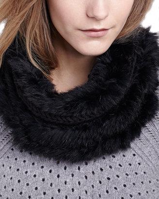 Hat Attack Classic Knit Fur Loop Scarf, Black