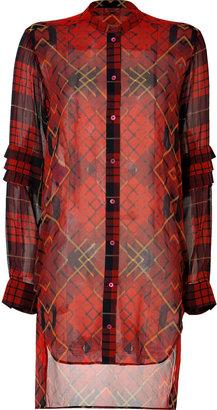 McQ by Alexander McQueen Silk Plaid Shirtdress in Oxblood