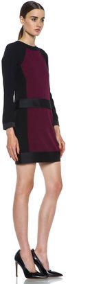 Victoria Beckham Victoria Frame Acetate-Blend Dress in Black & Berry