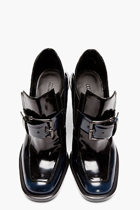 Jil Sander Black & Blue Buckled Runway Loafers