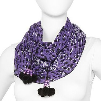 JCPenney Animal Print Scarf with Pom Poms