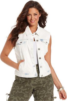 Style&Co. Plus Size Vest, Sleeveless Denim, White Acid Wash