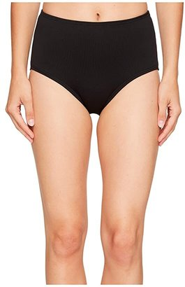 TYR Solid High Waist Bikini Bottom (Black) Women's Swimwear