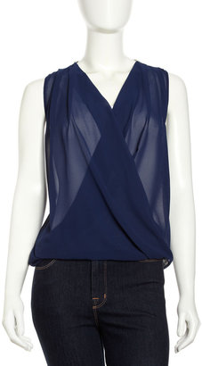 Romeo & Juliet Couture Crochet-Back Draped Front Blouse, Navy