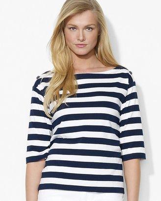 Lauren Ralph Lauren Stripe Boat Neck Top