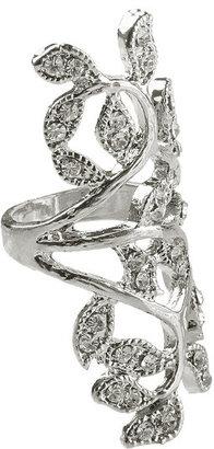 Forever 21 Rhinestone Foliage Knuckle Ring