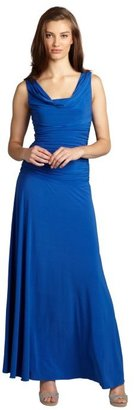 Night Way NW Nightway cobalt ruched draped neck sleeveless stretch jersey knit gown
