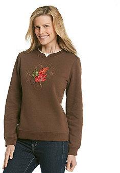 Breckenridge® Mystic Leaves Embellished Fleece Pullover
