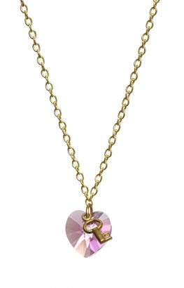 Crystal Heart & Key Necklace