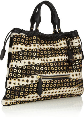Burberry Eyelet-embellished calf hair tote