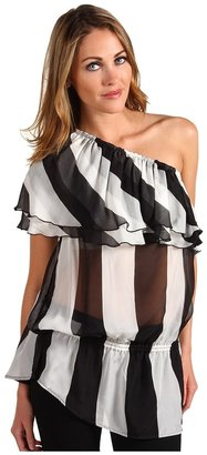 L.A.M.B. Stripe One Shoulder Blouse (Ivory/Black) - Apparel