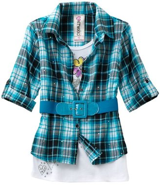Knitworks plaid sugar skull mock-layer top - girls plus