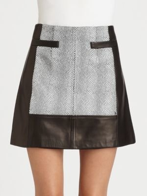 Nanette Lepore Leather Spinning Skirt