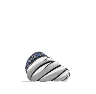David Yurman Hampton Cable Ring with Gray Diamonds and Blue Sapphires
