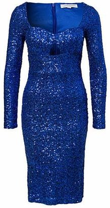 Glamorous Long Sleeve Sequin Dress Blue
